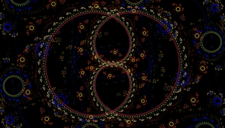 variegated: fractal abstract variegated color pattern of circles and lines of red yellow blue beige colors on a black background Stock Photo