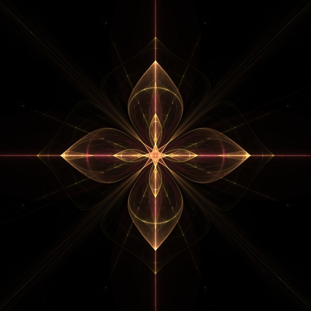 fractal emblem symbol of cosmic flower with four petals swirling red and yellow petals and a small inside and a bright star with a luminous rays diverge in hand in space on a black background.