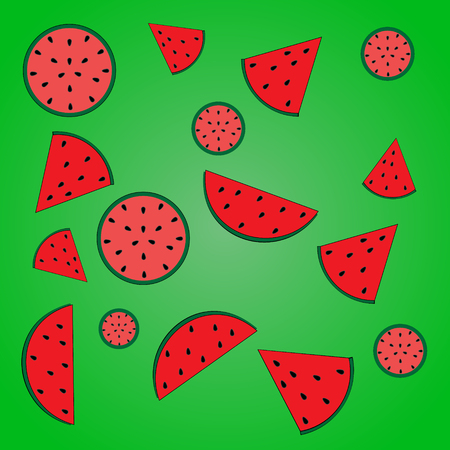 pulp: vector illustration of a watermelon pink and red pulp with seeds and slices of watermelon with seeds on a bright green gradient background