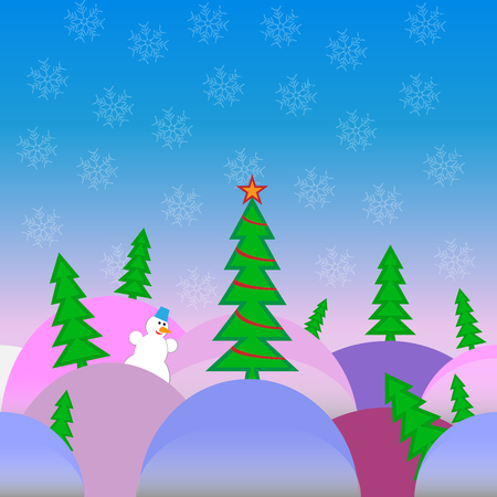 carrot tree: vector illustration of a bright Christmas landscape in a cartoon style tree on multicolored drifts with joyful snowman in the background on a blue gradient background with transparent snowflakes. Illustration