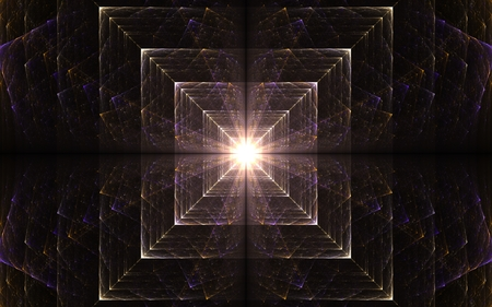 converging: abstract illustration fractal glowing squares converging to the center with light radiating from the middle of colored lines Stock Photo