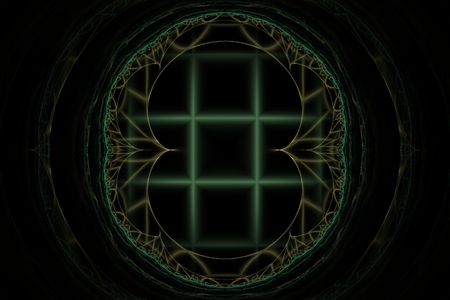 fractal pattern of brown lines on a black background with a blurred grille in the background in the dark Stock Photo