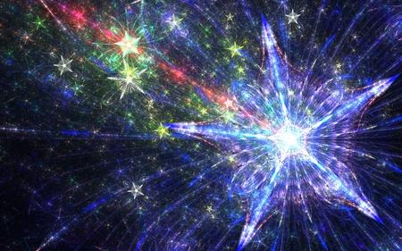 estrellas cinco puntas: azul estrella de cinco puntas brillantes fractal con chispas con haz de luz roja y las pequeñas estrellas amarillas