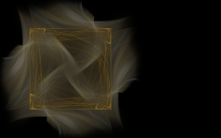 consisting: abstract illustration brown square consisting of lines on a gray blurred background in the form of pieces of fabric on a black background on the left side of the screen.