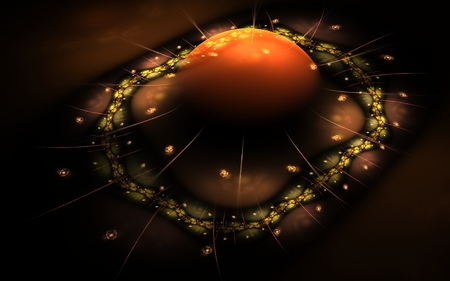 ameba: Abstract illustration of a volumetric ball with a gradient from yellow to black lying on a platform with a patterned rim of golden color with spikes on a dark background.