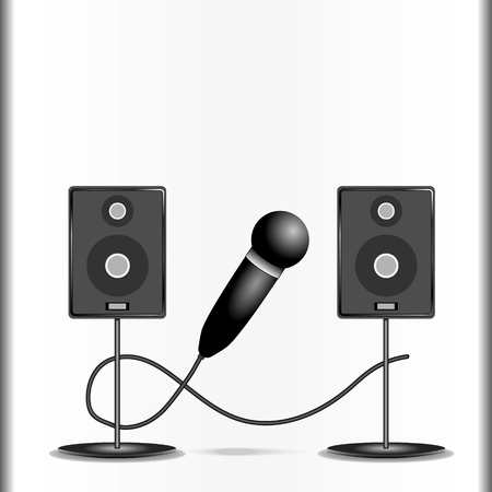 consisting: Vector illustration of a composition consisting of two columns in gray tones on supports and a black microphone with highlights and a wire between them on a gray background.