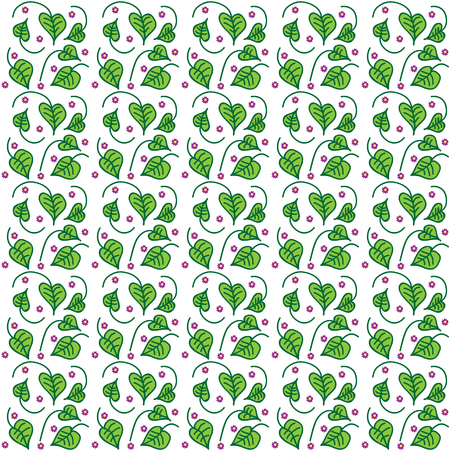 Vector illustration of a seamless texture with a picture of a bindweed with cuttings of green and lilac flowers between them with a yellow center on a white background.
