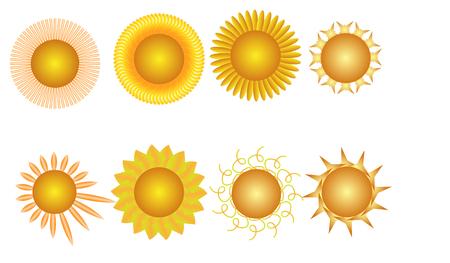 異なった形およびサイズの白い背景の上の光線を 8 の明るい黄色の太陽のベクトル イラストのコラージュ