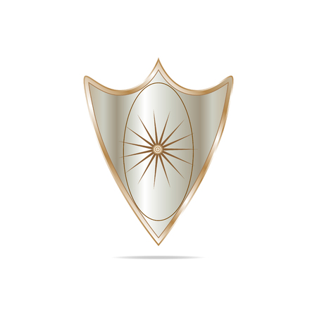 Vector illustration of shield on white background with shadow of sand color with gradient edging and gradient background with oval and star with lots of rays. Stock Photo