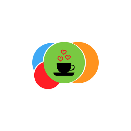 Vector illustration of a logo consisting of beige balls, green, red, orange, blue color arranged one after another with a black cup on a saucer with hearts on a circle isolated on a white background Çizim