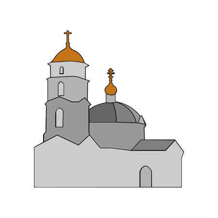 crosses: Image of an Orthodox church in the style of minimalism Illustration