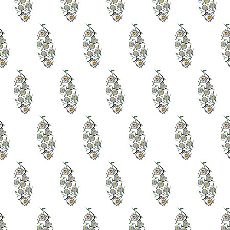 chamomile flower: Vector illustration seamless texture from a pattern of chamomile flowers, leaves and wavy stems on a white background in checkerboard pattern Illustration