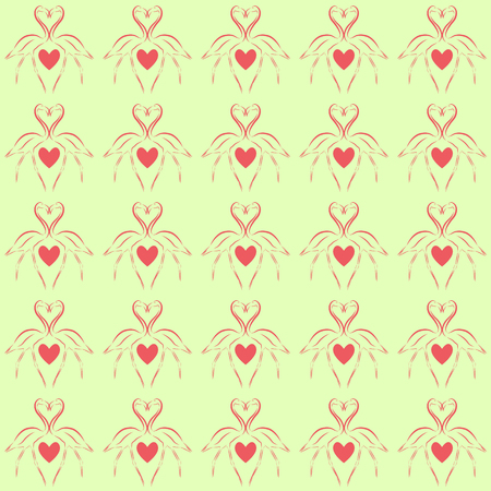 faithfulness: Vector illustration background image seamless pattern two pink flamingos opposite each other with a heart between them on a pale yellow background