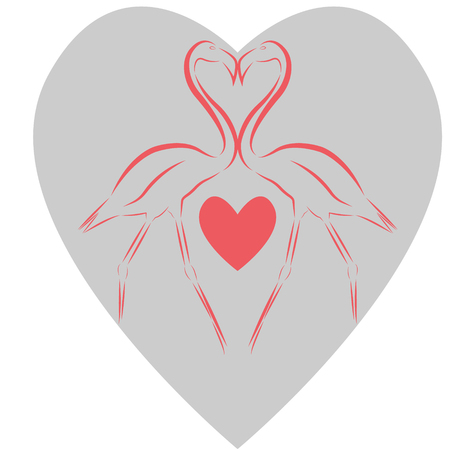 Vector illustration of two pink flamingos touching beaks with a pink heart between their legs against the background of a big gray heart, as a symbol of love and fidelity