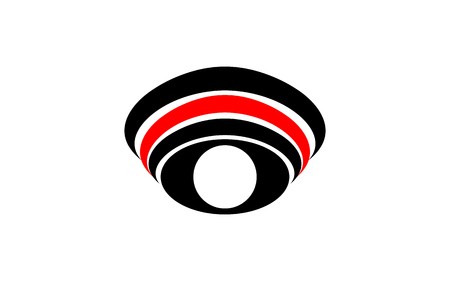 Vector logo symbol abstract eye with white pupil with arched lines over the eye of black and red on white background