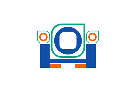 Vector abstract logo from geometric figures of green, blue orange and blue H on white background