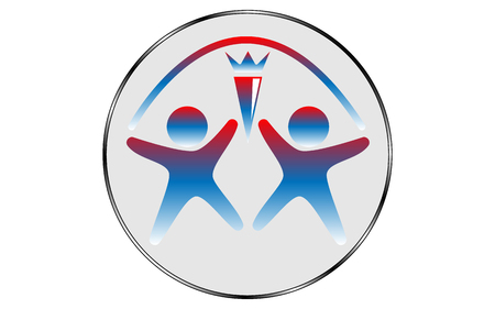 Vector logo depicting two person figures with arms outstretched and legs apart with a torch in the middle and an arc over the heads in a gray circle with a gradient outline on white