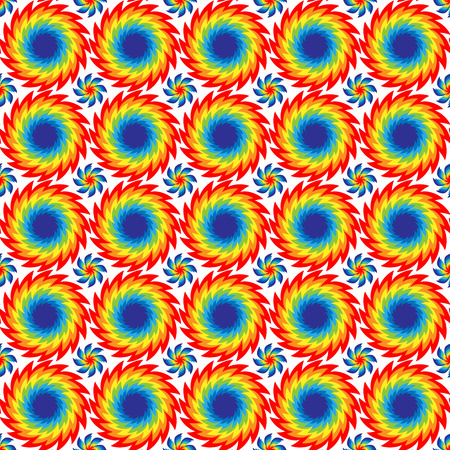discs: Vector illustration seamless pattern of bright discs with serrated edges of rainbow colors arranged in rows on a white background.
