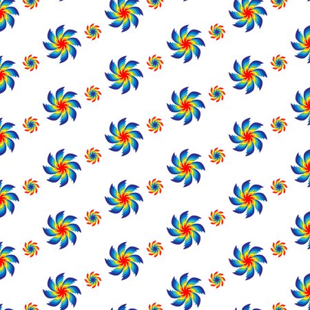 Vector illustration of a spiral flowers pattern of different colors arranged diagonally on a white background. Illustration