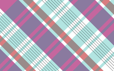 Vector illustration of an abstract background of pink and purple and blue stripes and black lines that intersect with each other in the shape of cells on a white background.