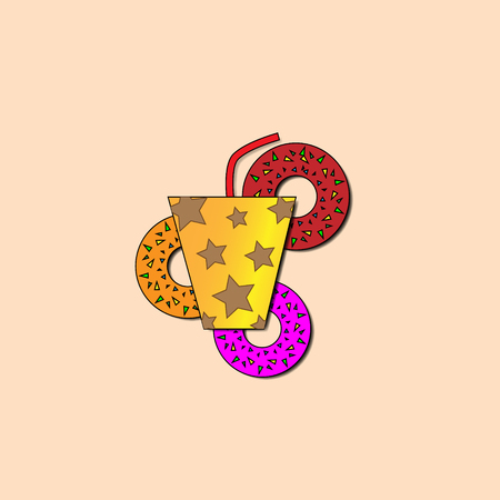 Vector illustration orange glass with brown stars and a red straw on a background of three donuts with a multicolored powder on a beige background with shadows.