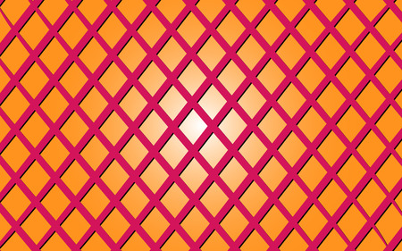 Vector illustration of a background image of a criss-crossed pink lines on an orange gradient background.