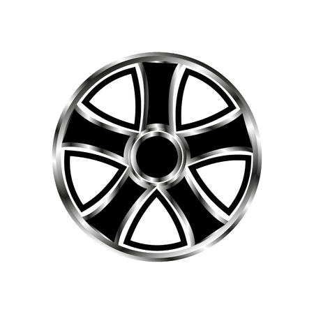 shiny car: Vector illustration drive car wheel with black pattern and gradient metal parts on a white background.