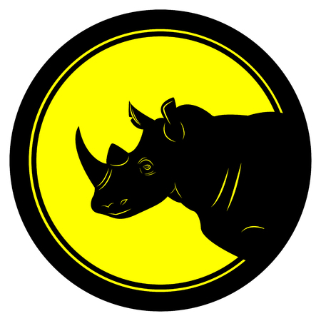 Vector illustration round emblem with black thick stroke with rhino head black in the center of the circle on a yellow background Çizim