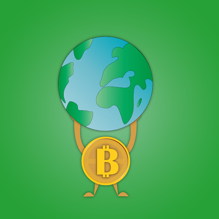 Image of coins bitcoin with a symbol in the middle that holds the planet Earth on hands symbolizing superiority over mankind.