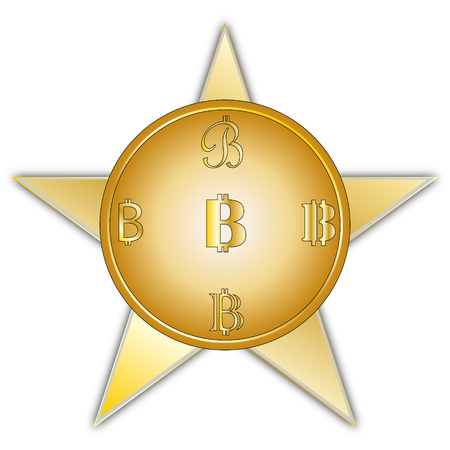 Image of coins bitcoin with a symbol in a different form of yellow color with a gradient on a five-pointed star backdrop with a gray edging on a white backdrop. Illustration