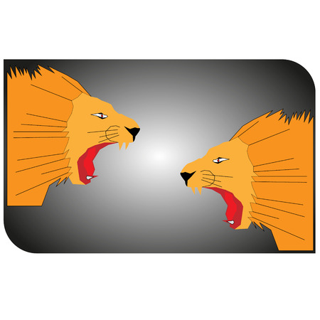 vector illustration two heads of orange lion lions snarling at each other on a gray gradient background.
