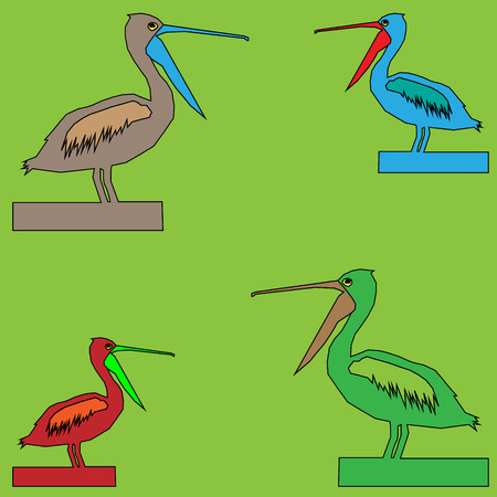 vector illustration of four birds pelican with open beaks of different colors on a green background.