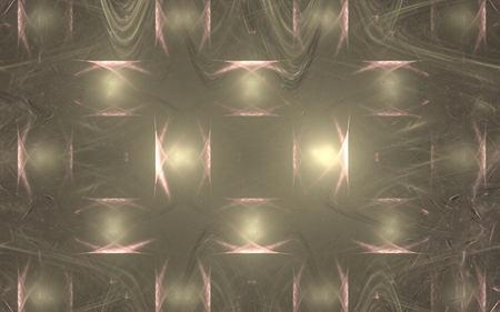 Abstract background of glowing stripes intersecting each other with a pink pattern on a beige background with chaotic lines.