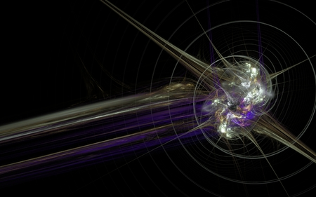 Illustration of an abstract energy explosion with a spiral line around the epicenter of the explosion and a lilac tail on a black background.