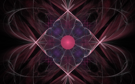 Vintage pattern in the shape of a flower with a red center and lilac petals on a background of abstract burgundy color pattern. Stock Photo
