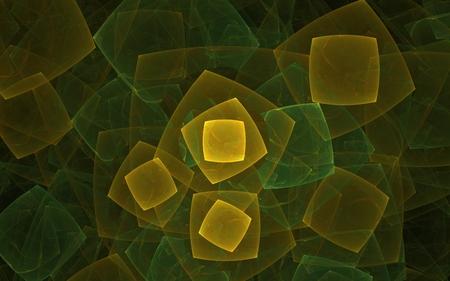 異なるサイズの黄色と緑の色の正方形を互いに重ね合わせた抽象的な背景画像。