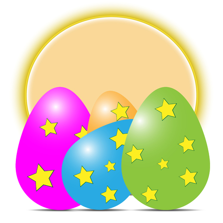 Vector illustration of multicolored easter eggs with shadows with asterisks on a yellow circle background on a white background.