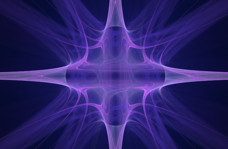 lilac abstract space symbol in the form of a star with four rays for use in computer graphics and design in games. Stock Photo