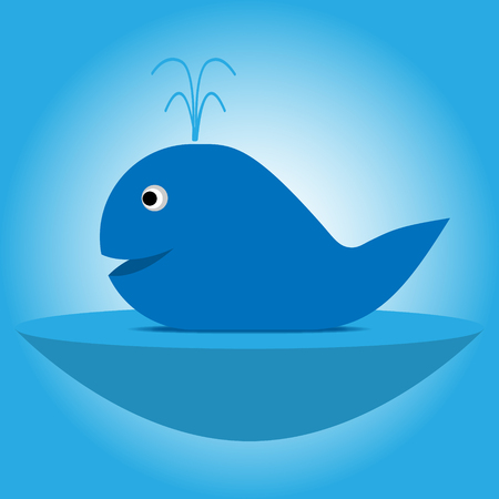 Illustration of blue cartoon whale with a fountain on the lake with a convex bottom on a gradient background.