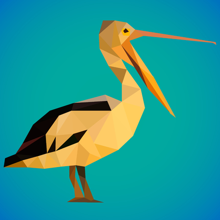Illusgration of a yellow pelican bird in a polygonal style on gradient blue background.