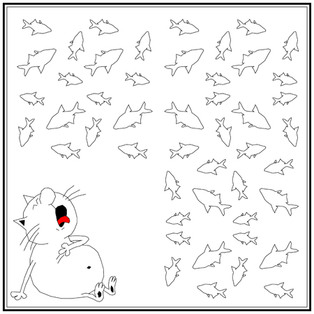 vector illustration of a suffering cat in a sitting position with its mouth open and its tongue hanging out against the background of a multitude of fish. Illustration