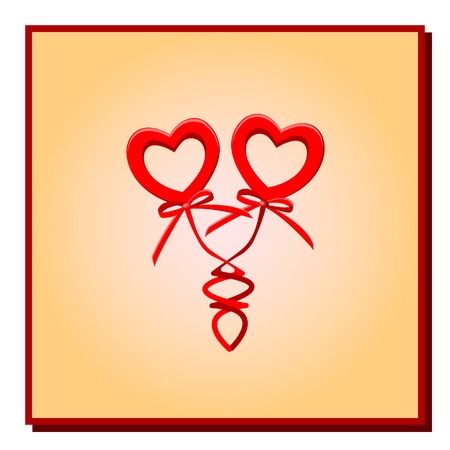 vector illustration two red hearts with bows on springs in a gradient frame on a white background for a congratulation with March 8 or St. Valentine's Day.
