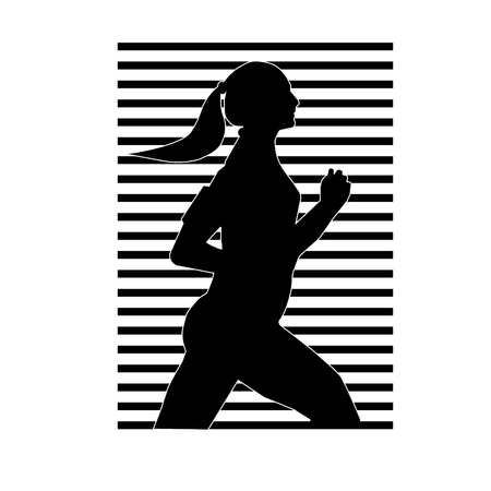vector illustration a silhouette of the running girl of black color with a white contour against the background of striped blinds of black color.