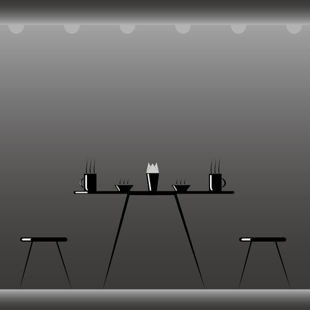 vector illustration in minimalism style black table with steaming cups and plates, and a napkin holder and two stools on the sides of the table on a gradient background of gray with floor and ceiling. Ilustração