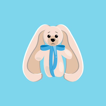 vector illustration of a cute toy hare with long ears and a blue bow on the neck painted in delicate shades on a blue background.