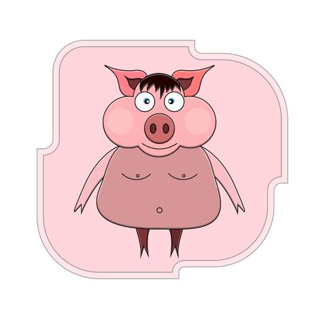 illustration of a cartoon pig on its hind legs with bangs, blue eyes and bare breasts and navel against the background of a pink geometric figure. 版權商用圖片