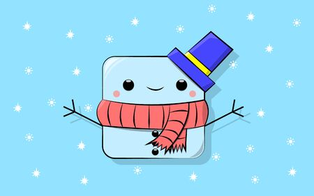 vector illustration of a cartoon cube-shaped snowman in a blue hat with a yellow stripe and in a red scarf with black stripes on a background of snowflakes.