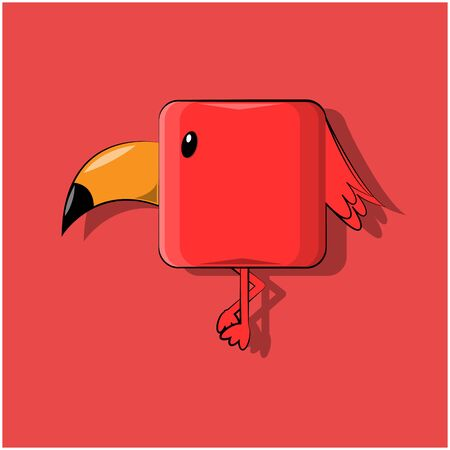 vector illustration of a red cube-shaped kawaii bird standing with a sharp humpback beak standing with a leg pressed on a red background.
