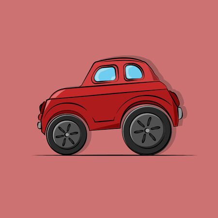 vector illustration of a toy cartoon red passenger car with blue glasses, big wheels, side view on a light red background.