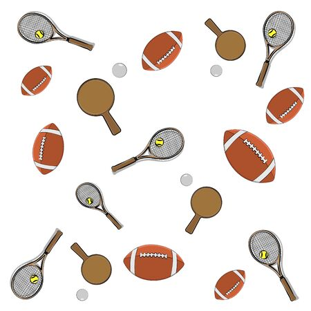 vector illustration of tennis rackets, table tennis rackets with balls and rugby balls on a bln background for use in web interface and advertising.